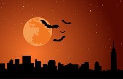 Halloween-de Illustratievector Vakantie van de Achtergrondmaanhorizon Royalty-vrije Stock Fotografie