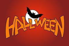 Halloween-de inschrijving van de knuppelmaan Stock Fotografie