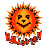 Halloween-de inschrijvings vectorillustratie van de pompoenzon Stock Foto's