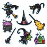 Halloween-de inzameling van de heksenillustratie Royalty-vrije Stock Afbeeldingen