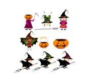 Halloween-de kinderen bedriegen of behandelend in Halloween-kostuum Royalty-vrije Stock Afbeeldingen