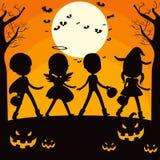 Halloween-de Kinderen silhouetteren Stock Fotografie