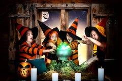 Halloween De kinderen van heksen en tovenaars die drankje in de ketel met pompoen en werktijdboek koken royalty-vrije stock foto's