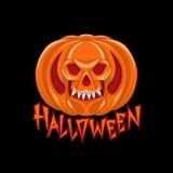 Halloween-de kleuren vectorillustratie van het pompoenenteken Royalty-vrije Stock Foto