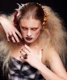 Halloween-de make-up van de Schoonheidsvrouw Stock Fotografie