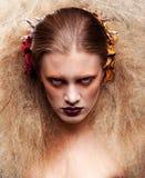 Halloween-de make-up van de Schoonheidsvrouw Stock Foto