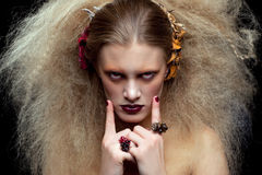 Halloween-de make-up van de Schoonheidsvrouw Royalty-vrije Stock Fotografie
