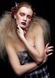 Halloween-de make-up van de Schoonheidsvrouw Stock Afbeeldingen
