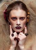 Halloween-de make-up van de Schoonheidsvrouw Stock Foto's