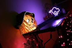 Halloween de néon Imagem de Stock Royalty Free