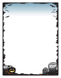 Halloween-de pagina van de kadergrens met pompoenschedel en grafstenen Royalty-vrije Stock Foto's