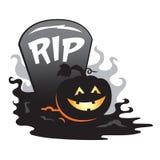 Halloween-de pompoen van de grafsteengrafzerk groepering Stock Foto