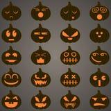 Halloween-de pompoenen plaatsen 20 pictogrammen Stock Afbeeldingen