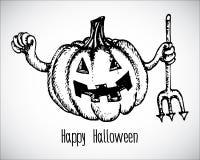 Halloween-de pompoenhand trekt stijl Royalty-vrije Stock Afbeeldingen