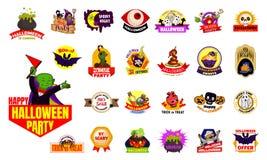 Halloween-de reeks van het embleemembleem, beeldverhaalstijl stock illustratie