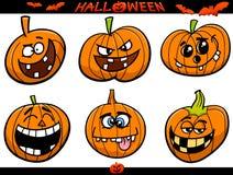 Halloween-de reeks van het pompoenenbeeldverhaal Stock Afbeelding