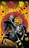 Halloween-de rit van het pompoenskelet op skeletpaard royalty-vrije illustratie