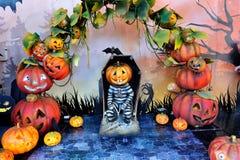 Halloween-de scèneachtergrond van de pompoenengevangene Royalty-vrije Stock Afbeeldingen