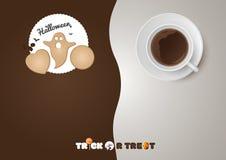 Halloween - de Truc of behandelt, koekjes, kop van koffie Stock Afbeelding