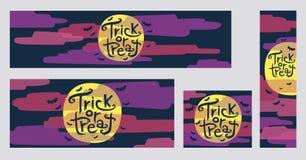 Halloween-de truc of behandelt Webbanners met maan en wolken Royalty-vrije Stock Afbeelding