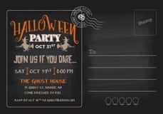 Halloween-de Uitnodigingsmalplaatje van de Partijprentbriefkaar stock illustratie