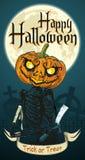 Halloween-de Vlieger van de Skeletpompoen Royalty-vrije Stock Fotografie