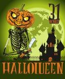 Halloween-de Vlieger van de Skeletpompoen Stock Foto