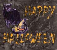 Halloween-de waterverfbeeldverhaal van de illustratiekaart met Verschillende Acties vector illustratie