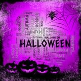 Halloween-de Woorden vertegenwoordigt Griezelige Verschrikking en Spook royalty-vrije illustratie
