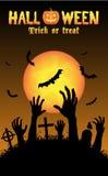 Halloween-de zombieën dienen een kerkhof in Stock Afbeeldingen