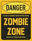 Halloween-de zombiegebied van het waarschuwingsbordgevaar Stock Foto