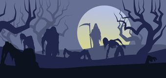 Halloween Death and ZOMBIES rise from graveyard. Grim reaper raises the undead corpse zombies on the day of the dead halloween royalty free illustration