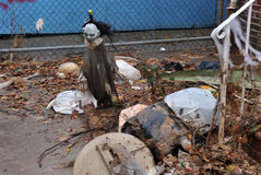 Halloween debris litters the ground. BROOKLYN, NY - OCTOBER 29: Halloween debris litters the ground in the Sheapsheadbay neighborhood due to flooding from Royalty Free Stock Photo