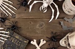 Halloween decor frame over rustic wood Royalty Free Stock Photography