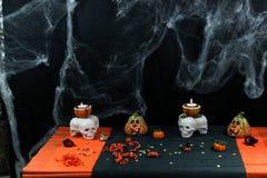 Halloween decor in orange and black royalty free stock photos