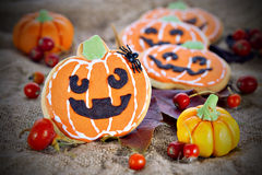 Halloween decor pumpkin cookies Stock Images