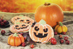 Halloween decor pumpkin cookies Royalty Free Stock Image