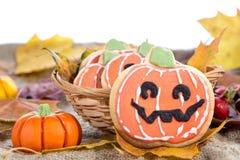 Halloween decor pumpkin cookies Stock Photos