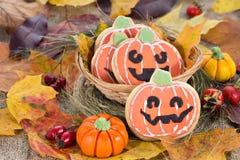 Halloween decor pumpkin cookies Stock Photo