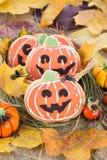Halloween decor pumpkin cookies Stock Images