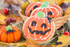 Halloween decor pumpkin cookies Royalty Free Stock Images