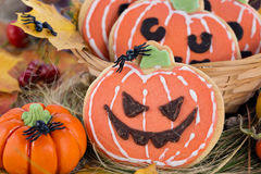 Halloween decor pumpkin cookies Stock Photo