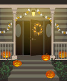 Halloween decorated front door. Halloween decorated front door and porch with pumpkins and wreath. Vector illustration Stock Images