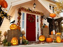 Halloween decorated house with pumpkins. 3d rendering. 3d rendering. halloween decorated front door with various size and shape pumpkins Royalty Free Stock Images