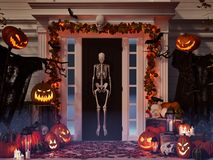 Halloween decorated house with pumpkins and skulls. 3d rendering Stock Photos