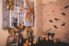 Halloween decorated yard of old house. Royalty Free Stock Image