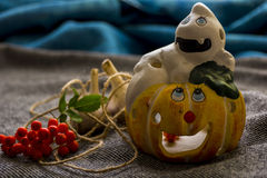 Halloween. Decorating for the holidays. Candlestick in the form of pumpkins and ghosts Stock Photography
