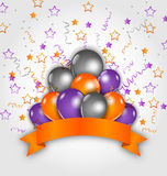Halloween decoration with balloons, confetti and   Royalty Free Stock Images