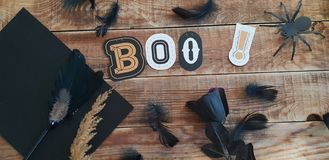Boo - Halloween decoration on wodden background royalty free stock image