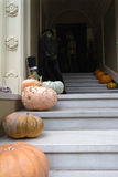 Halloween Decoration in Front of House with Witch Stock Photo